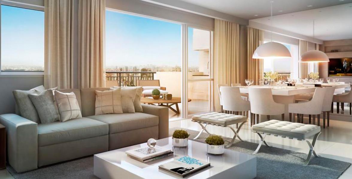 LIVING AMPLIADO do apto de 113 m² acomodando confortavelmente 3 ambientes: jantar, TV e estar do Cyrela Legacy Vila Mariana