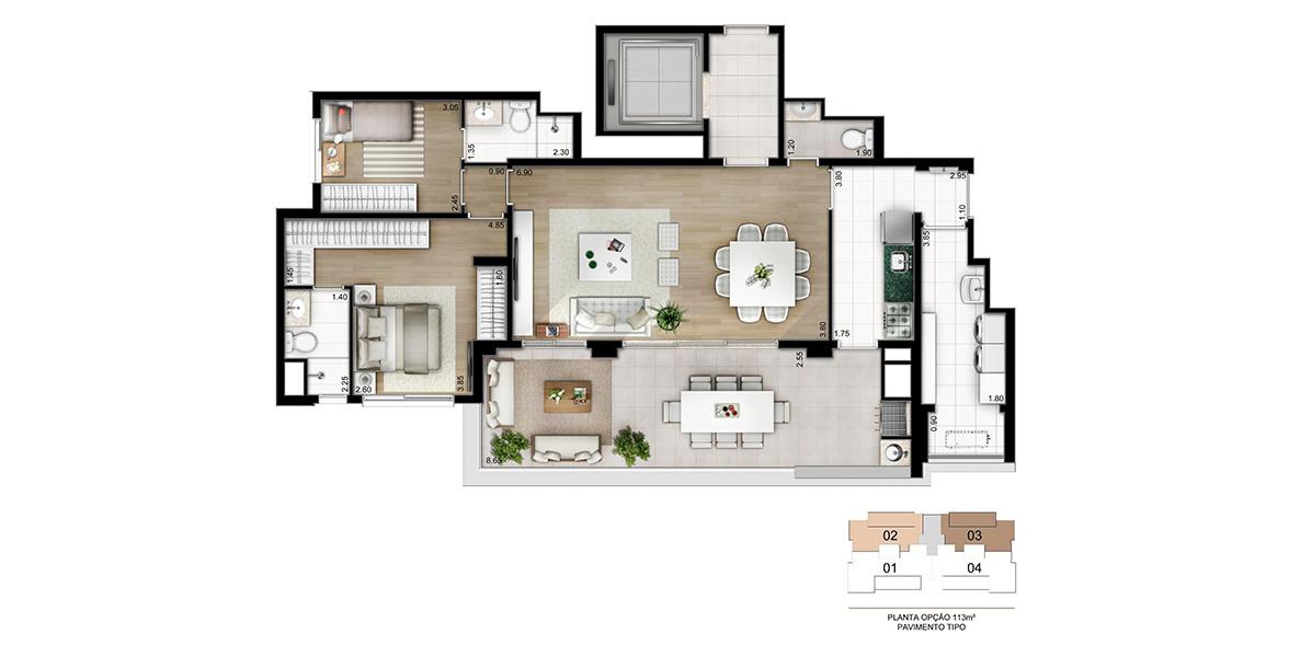 113 M² - 2 SUÍTES. Apartamento tem um excelente living integrado ao terraço gourmet com churrasqueira, que também tem acesso direto para a cozinha.
