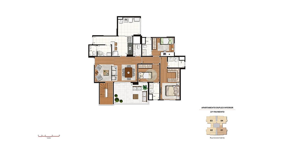 219 M² - 3 SUÍTES. DUPLEX INFERIOR. Apartamento com ótima suíte master com closet e todos os banheiros da suítes tem ventilação natural. O living se integra ao terraço e à cozinha, que é espaço e conta com ampla área de serviço.