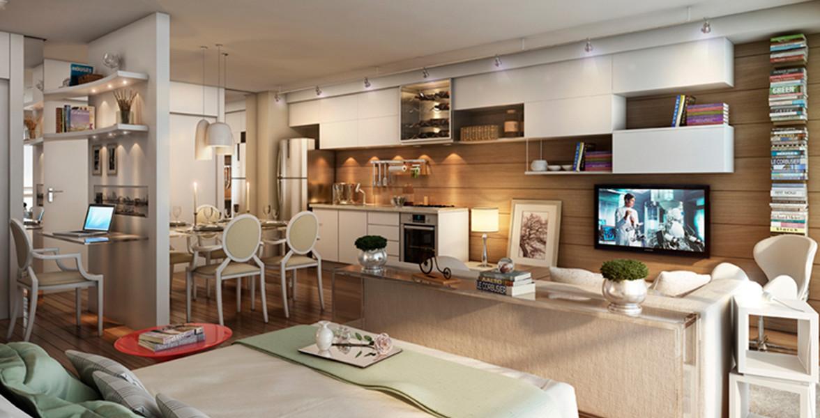 STUDIO de 54 m² que é um studio sem paredes internas (claro!), porém com ambientes visualmente definidos do Home Boutique Brooklin