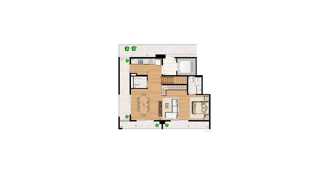 Planta do Home Boutique Brooklin. 125 M² - STUDIO. DUPLEX INFERIOR. Cobertura com terraço que abraça todo o apto.
