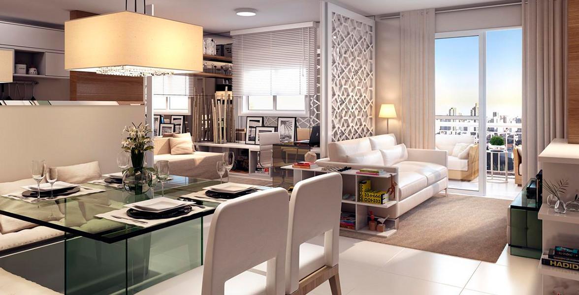 LIVING AMPLIADO do apto de 65 m² com 3 ambientes bem divididos, sem aperto.