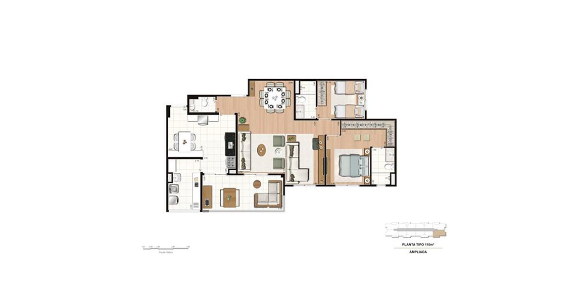 110 M² - 2 SUÍTES. Apartamento com living ampliado e lavabo, a integração do terraço gourmet com a cozinha e com o living ficou incrível.