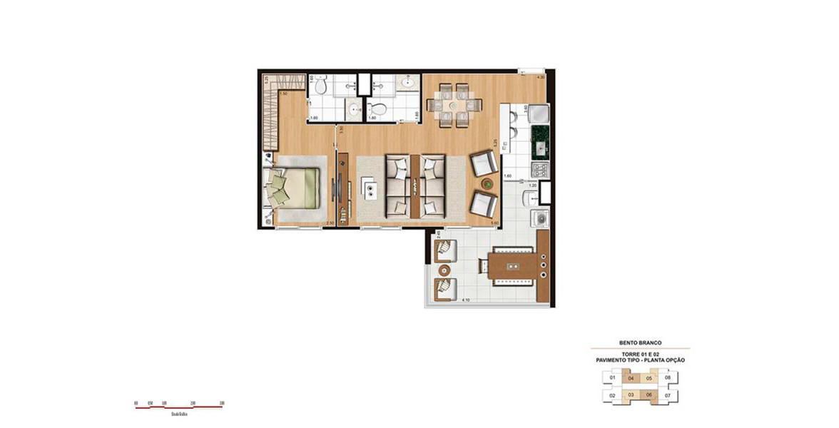 68 M² - 1 SUÍTE. Apartamento com living ampliado e espaçoso terraço com passagem direta para a cozinha.