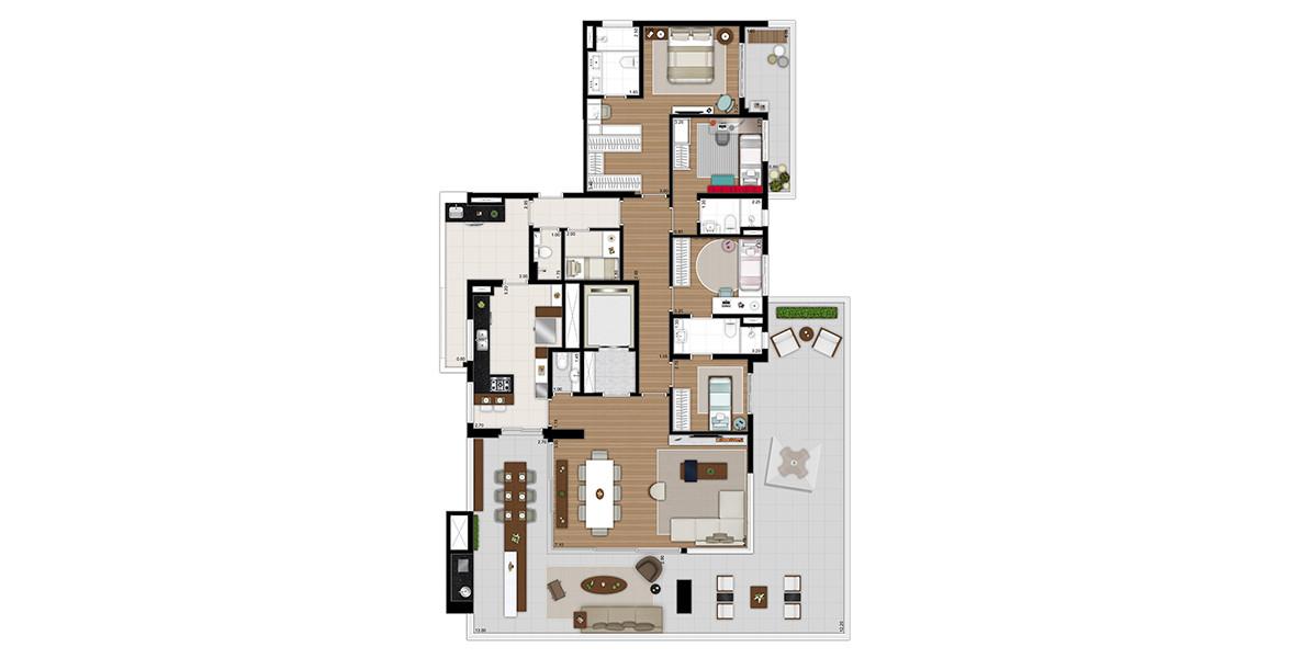 Planta do Tom 1102. 271 M² - 4 DORMS., SENDO 2 SUÍTES. Apartamento com um super terraço, que envolve todo o living, integrando-se com a cozinha.