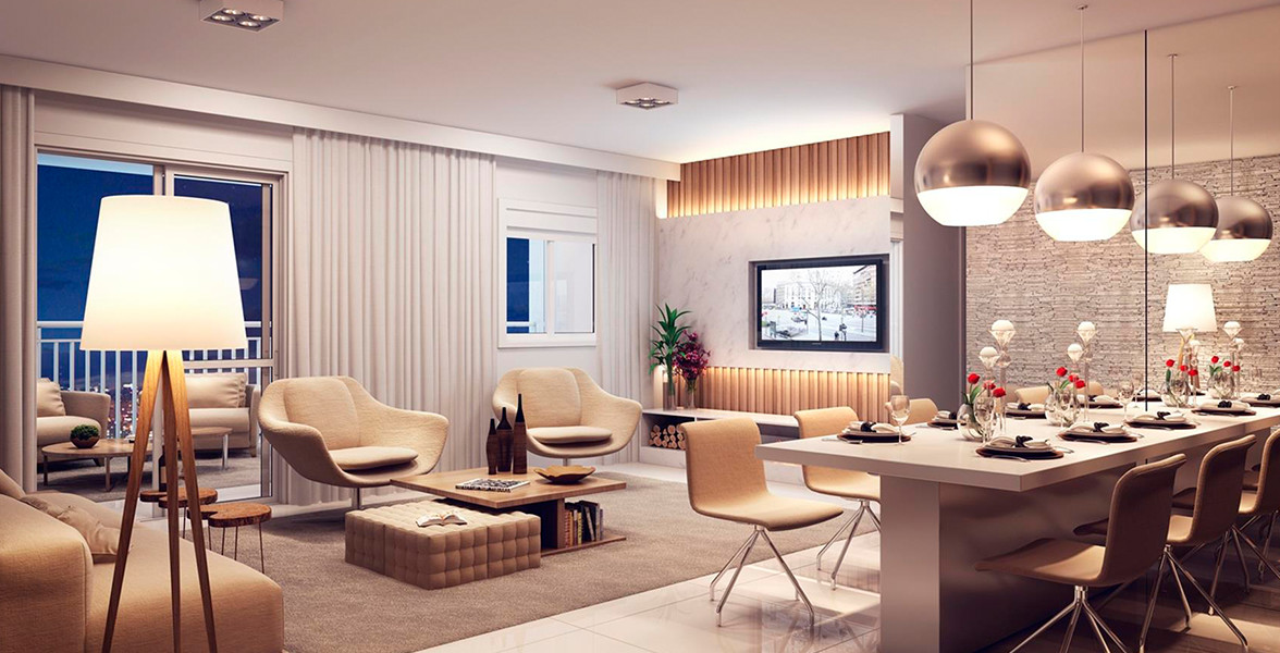 LIVING AMPLIADO do apto de 102 m² tem um bom espaço para receber bem, integrado ao terraço gourmet que tem opção de kit churrasqueira.