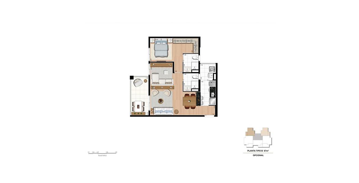 67 M² - 1 SUÍTE. Apartamento com living ampliado e cozinha americana. Suíte master com boa área para armário e banheiro com ventilação natural.