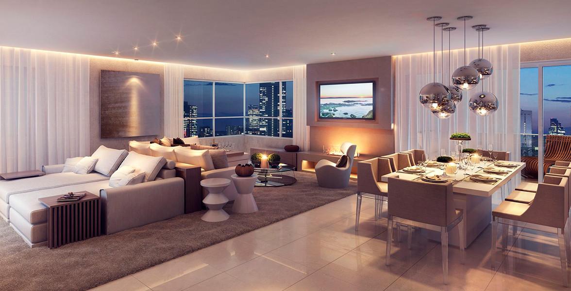 LIVING do apto de 165 m² com amplo janela de canto, que proporciona uma vista bem ampla.