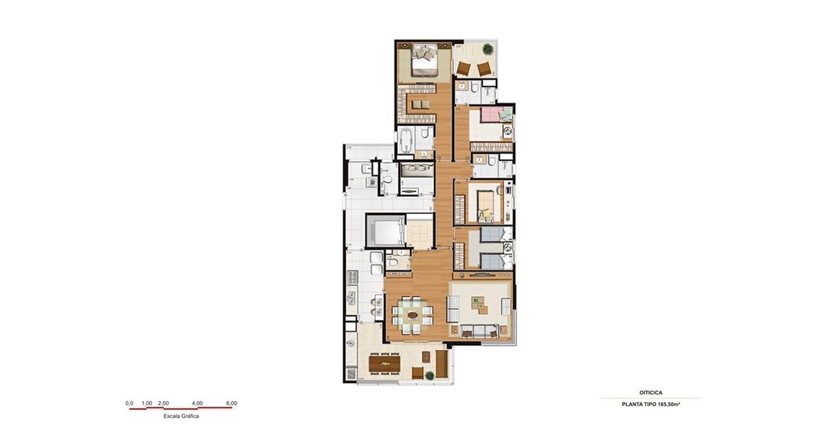 165 M² - 4 DORMS., SENDO 3 SUÍTES. Apartamento com suíte master com closet, terraço e opção de banheira. Living integrado com o terraço gourmet, que tem acesso direto à cozinha.