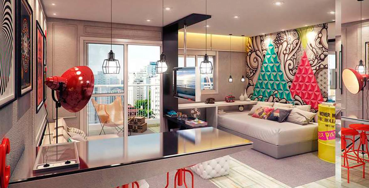 STUDIO de 34 m² com sugestão de um prático sofá cama, para você aproveitar ao máximo, inclusive com seus amigos.