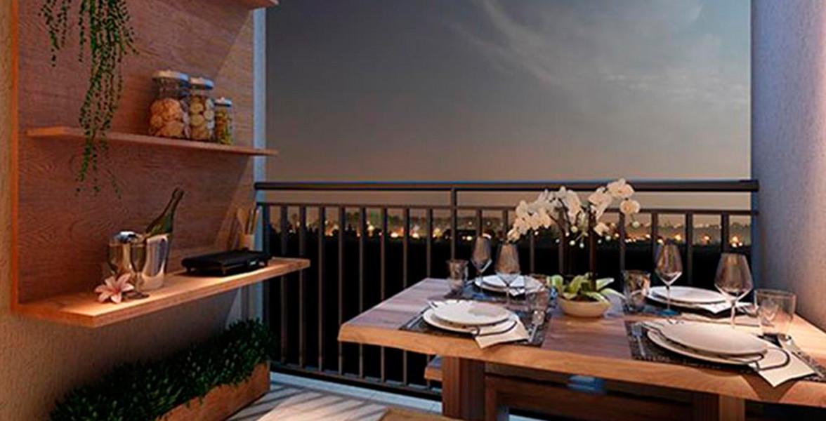 TERRAÇO GRILL do apto de 71 m² com espaço inclusive para você acomodar sua mesa de jantar do Auguri Residence