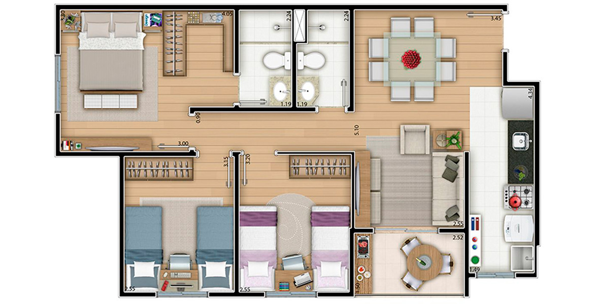 Planta do Auguri Residence. 70 M² - 3 DORMS., SENDO 1 SUÍTE. Apartamento com cozinha integrada e ampla área íntima, composta por uma suíte com closet e dormitórios para os filhos.