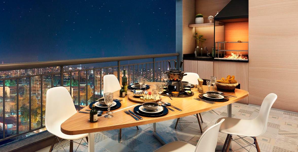 TERRAÇO GOURMET do apto de 64 m² com opção de churrasqueira.