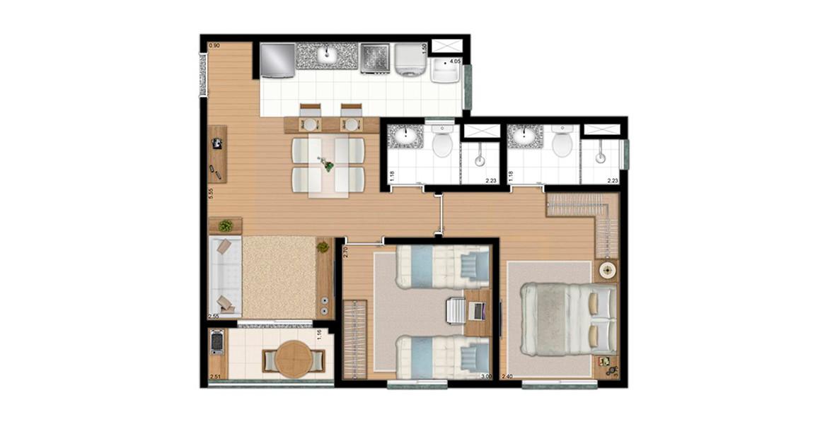 54 M² - 2 DORMS., SENDO 1 SUÍTE. Com cozinha americana e terraço grill, é uma planta bem otimizada.