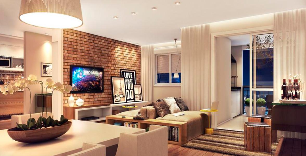 LIVING AMPLIADO do apto de 74 m² integrado ao amplo terraço gourmet.
