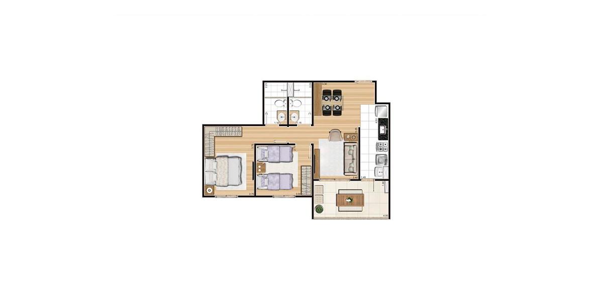 61 M² - 2 DORMS., SENDO 1 SUÍTE. Apto com 2 dormitórios para a família, com preço atrativo.
