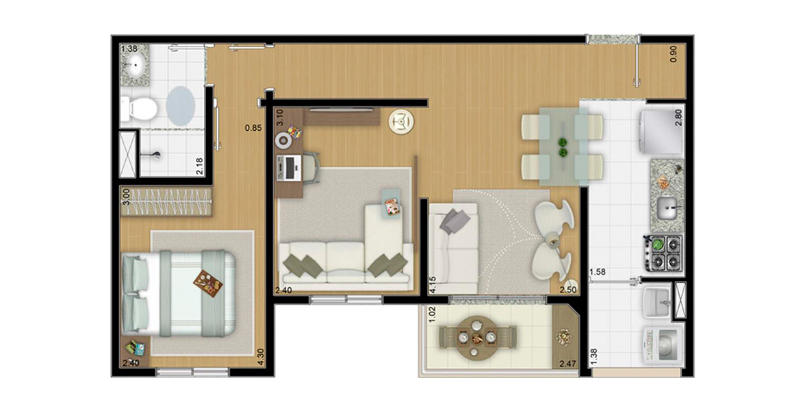 Planta do Reserva Morumbi. floorplan