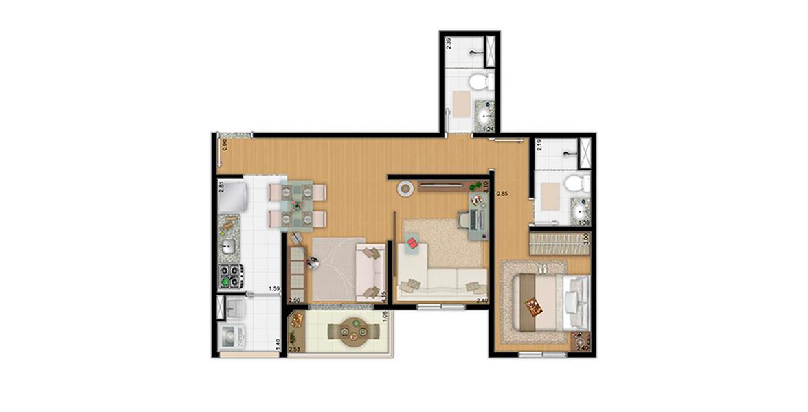 54 M² - 2 DORMS., SENDO 1 SUÍTE. Apto com cozinha americana, living estendido e 2 banheiros.