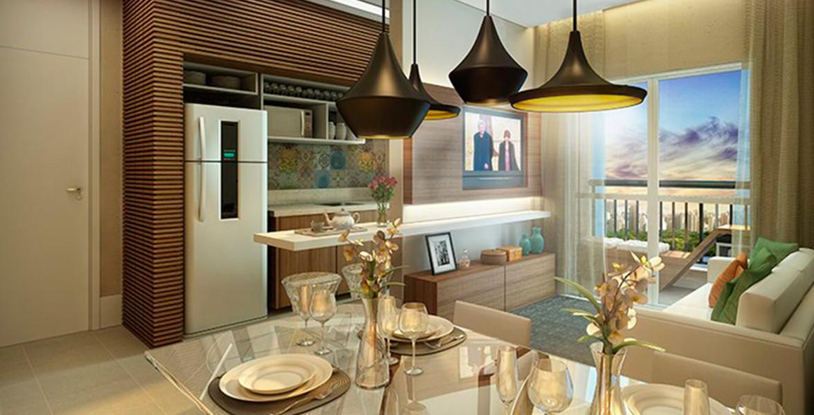 LIVING do apto de 56 m² com projeto de decoração de Camila Klein.