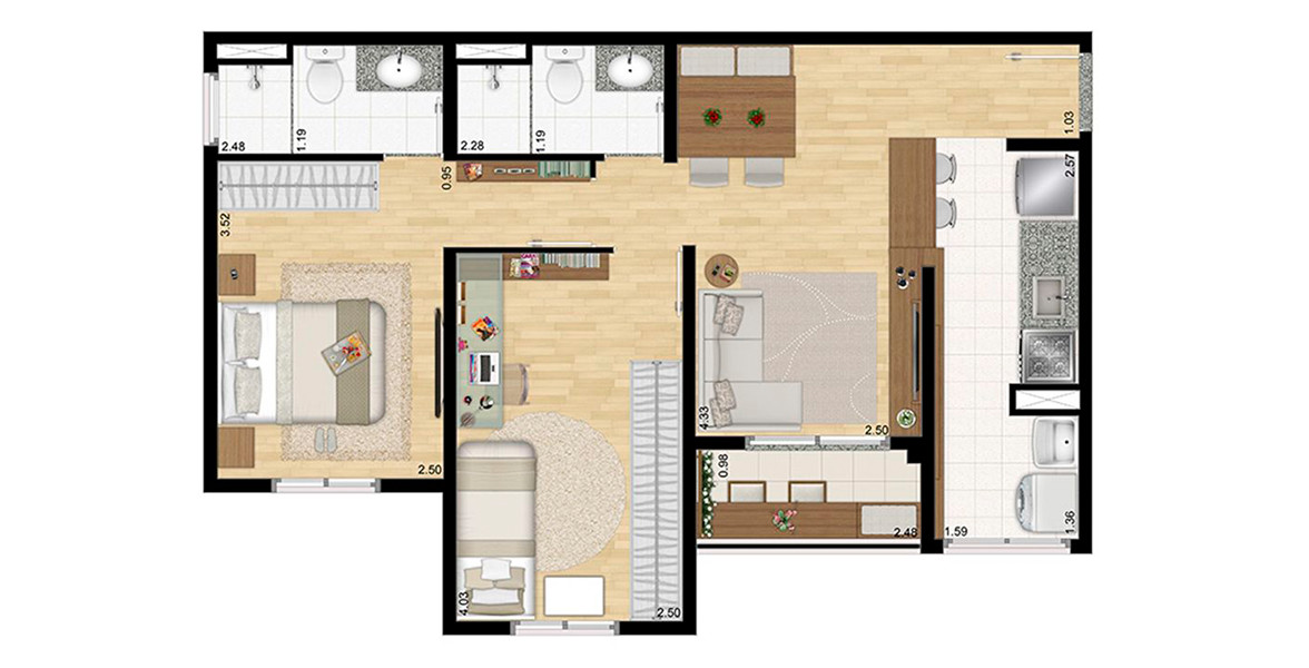 56 M² - 2 DORMS., SENDO 1 SUÍTE. Apto com cozinha americana, 2 dormitórios e 2 banheiros, ideal para casais jovens e famílias com filhos.