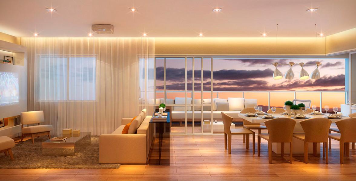 LIVING AMPLIADO com excelente integração com o terraço, valoriza o convívio social com 4 ambientes para receber.