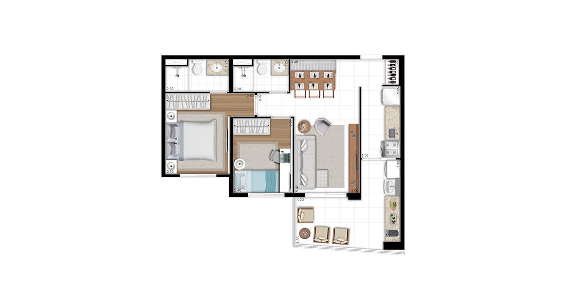 65 M²  - 2 DORMS., SENDO 1 SUÍTE. Apto para a família, com 2 bons dormitórios, bem ventilados e iluminados devido às persianas de enrolar. Cozinha já é entregue com infraestrutura para coifa. Na entrada, há uma área para adega muito boa.