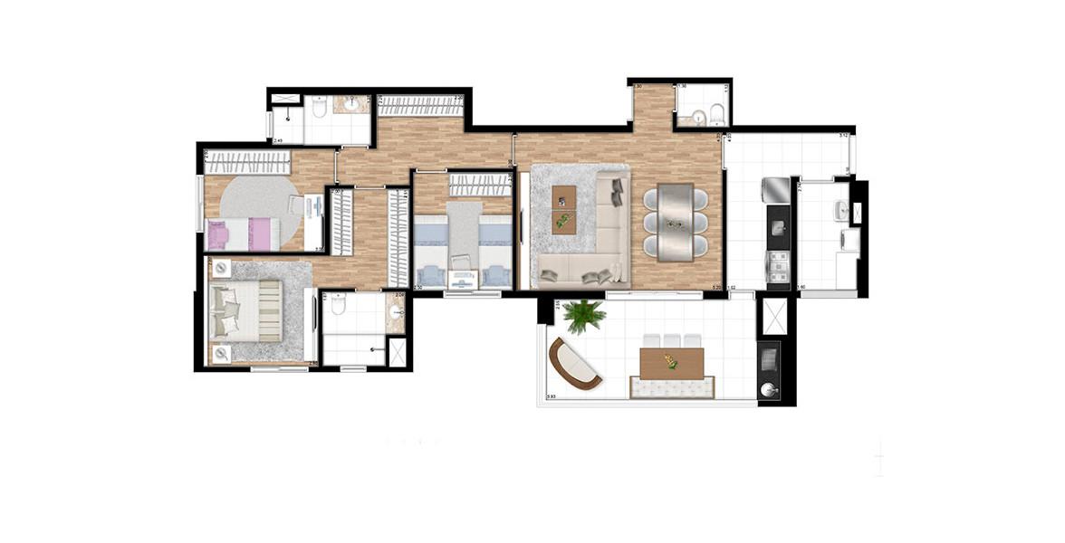 108 M² - 3 DORMS., SENDO 1 SUÍTE. Apto com área íntima com suíte master com closet e espaço para rouparia ou home office. Cozinha com infraestrutura para coifa e entrada de serviço. Área de serviço fechada, porém ventilada.
