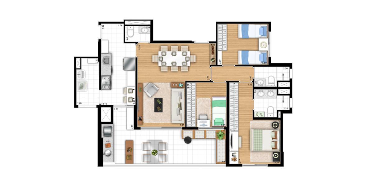 106 M² - 3 DORMS., SENDO 1 SUÍTE. Apto para a família, com 3 bons dormitórios, ainda tem um bom living com lavabo e infraestrutura para ar-condicionado. Suíte master tem uma ótima área de armário e banheiro com cuba dupla e ventilação natural.