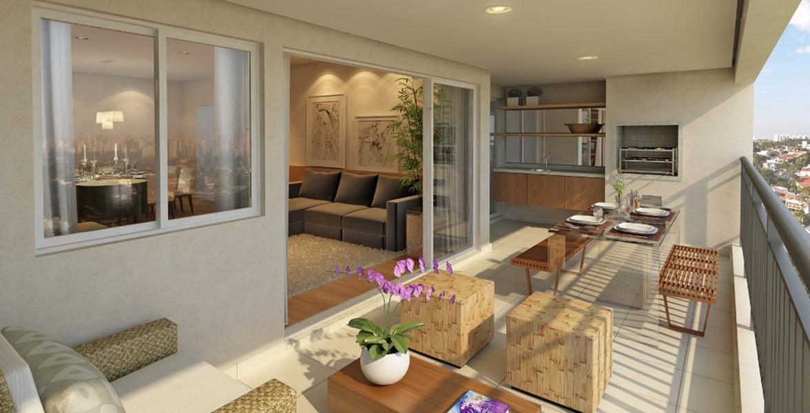 TERRAÇO do apto de 133 m² com churrasqueira, passagem direta para a cozinha e amplas portas de vidro do Verde Morumbi