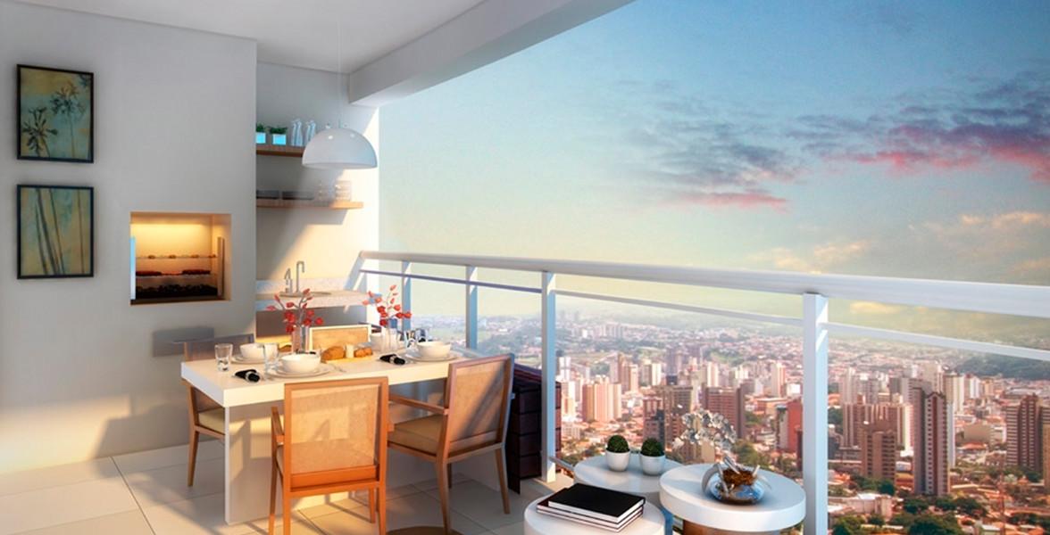 TERRAÇO GOURMET do apto de 69 m² com opção de churrasqueira e guarda-corpo de vidro.
