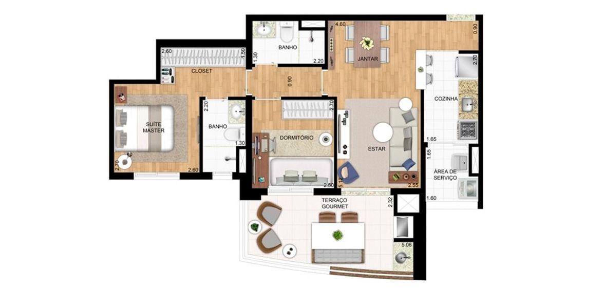 69 M² - 2 DORMITÓRIOS, SENDO 1 SUÍTE. Apartamento possui uma boa suíte master com closet e banheiro com ventilação natural. 2º dormitório pode ser retirado, ampliando o living.