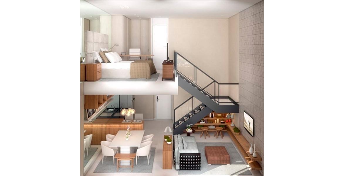 DUPLEX do apto de 67 m² com um super pé-direito. Decoração de Débora Aguiar conseguiu bastante amplitude, devido à ausência de paredes internas.