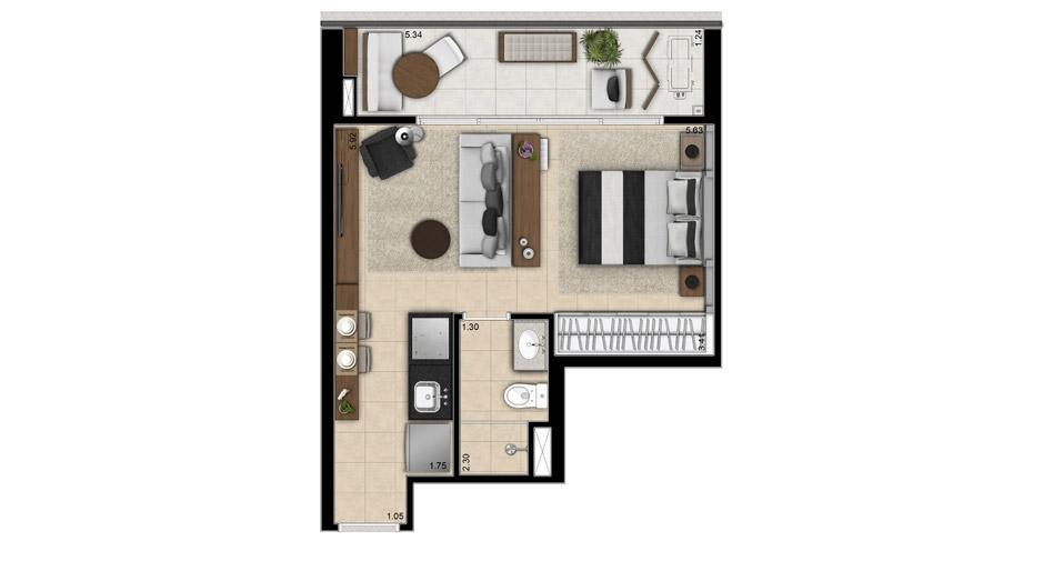 36 M² - STUDIO. Apto com ambientes bem definidos, repare que o banheiro avança no apartamento milimetricamente para dar espaço para o armário e a copa.