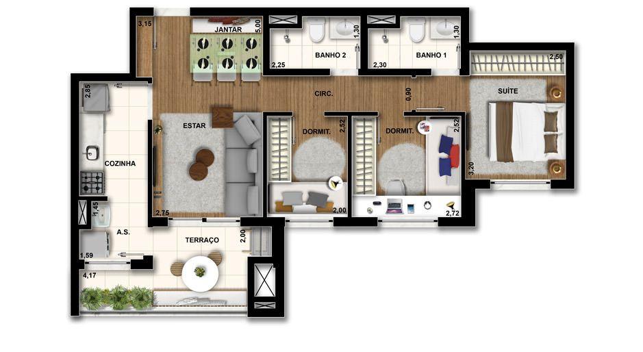 69 M² - 3 DORMS., SENDO 1 SUÍTE. Apto para a família, com 3 dormitórios com persiana de enrolar, ainda mantém um bom living devido à integração com o terraço, que tem opção de churrasqueira.