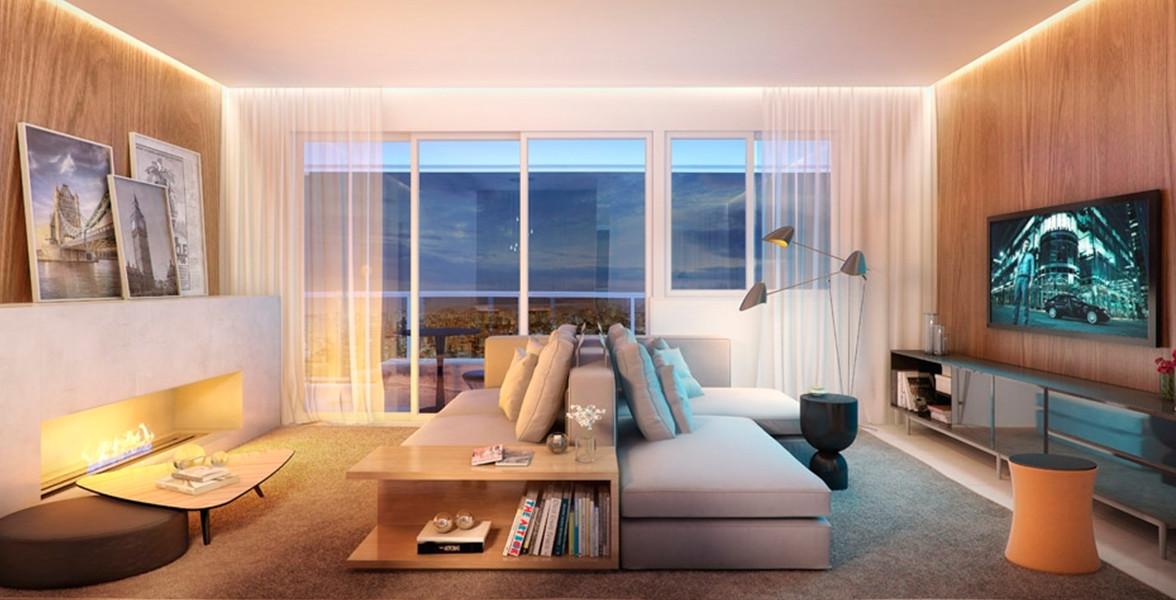 LIVING AMPLIADO do apto de 75 m² com sugestão de lareira ecológica, cria um ambiente bastante aconchegante.