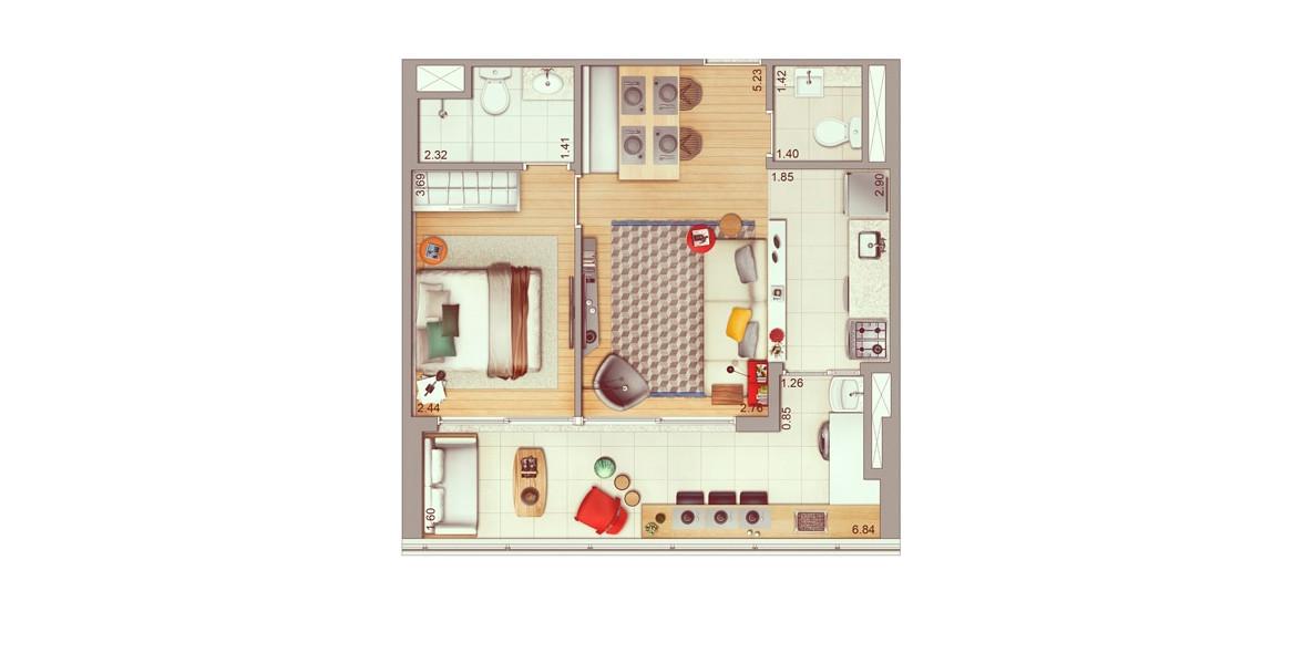 53 M² - 1 SUÍTE. Apto possui um living com lavabo e cozinha americana, integrado com o amplo terraço com passagem direta para a cozinha.