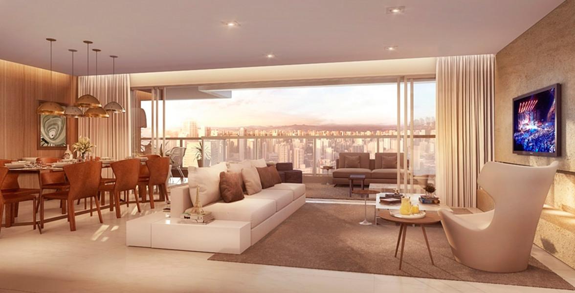 LIVING AMPLIADO do apto de 189 m² possui uma incrível área social, integrada ao terraço gourmet que permite a entrada de bastante luz natural.