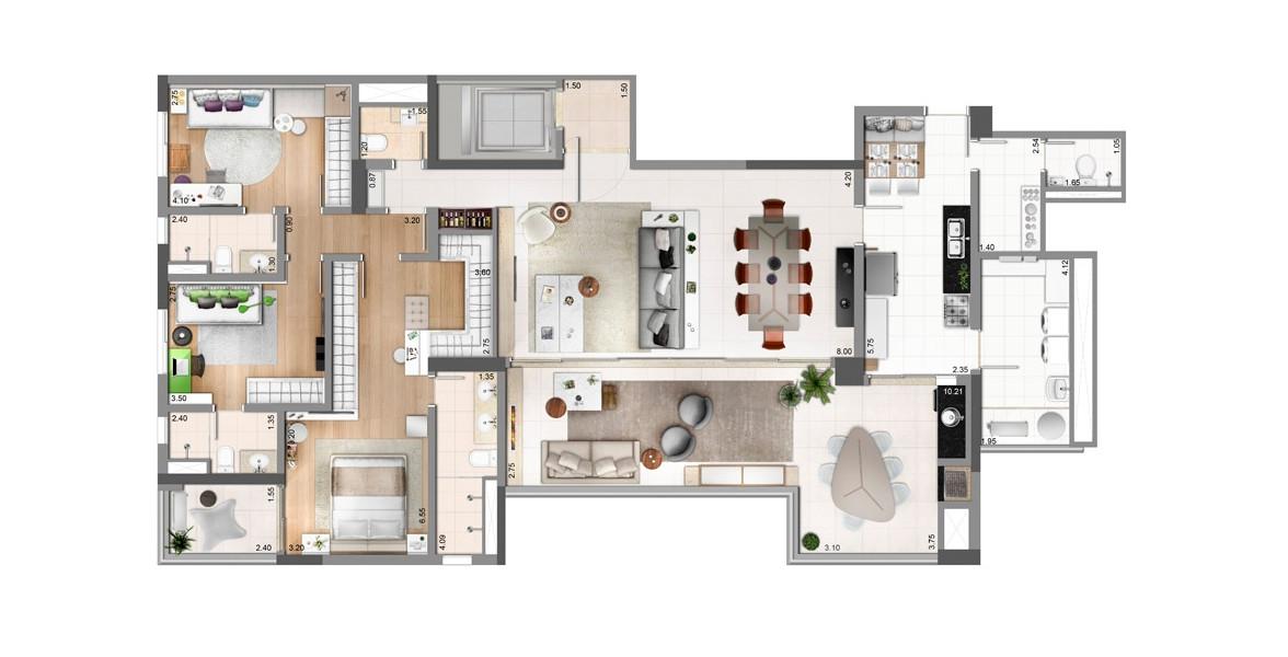 189 M² - 3 SUÍTES. Apto com living ampliado, cria uma boca de sala de 8 metros, com infra para automação e amplos caixilhos, sem colunas no meio. O terraço gourmet com churrasqueira também se integra com a cozinha, sem passar pela lavanderia.