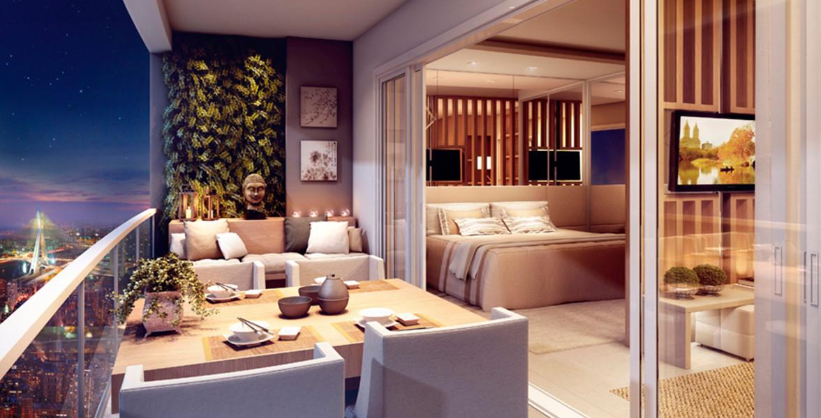 VARANDA do apto de 55 m² integrado por grandes janelões, um bom espaço para complementar o Estar e com uma bela sugestão de quadro verde vivo do Follow