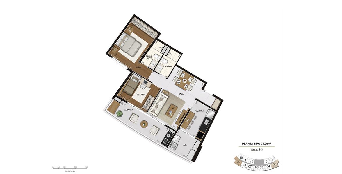 Planta do Follow. 74 M² - 2 DORMS., SENDO 1 SUÍTE. Apto com o 2º dormitório, que não prejudica o living, devido à ampla varanda, que tem condições de fazer a função da sala de estar.