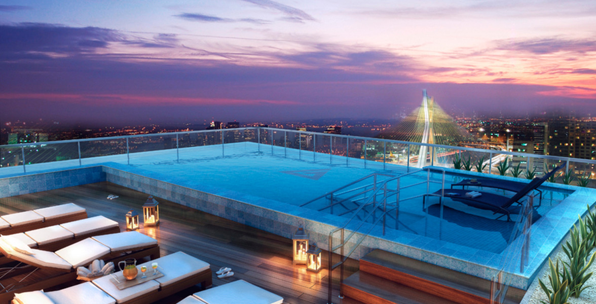 SKY POOL com borda infinita, em um espaço exclusivo na cobertura, com vista panorâmica para a Ponte Estaiada de tirar o fôlego.