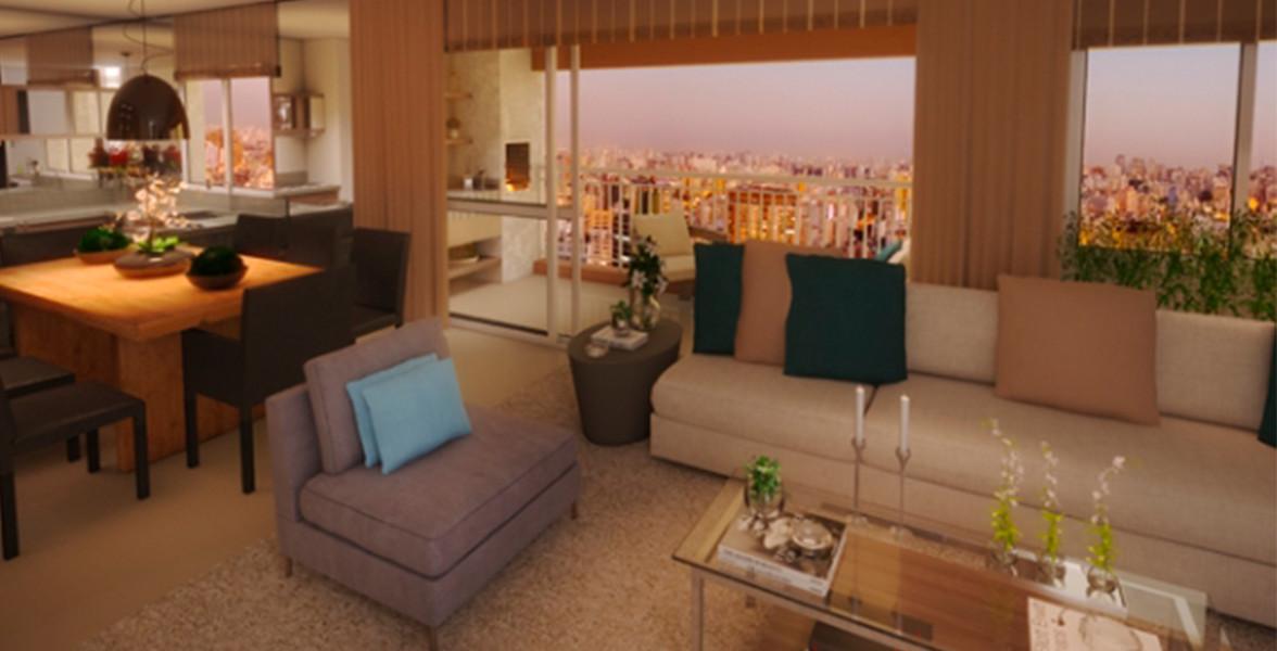 LIVING do apto de 107 m² com boa integração com o terraço que já é entregue com churrasqueira.