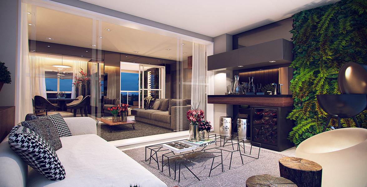 TERRAÇO do apto de 85 m², com amplo caixilho para melhorar a integração com o living.