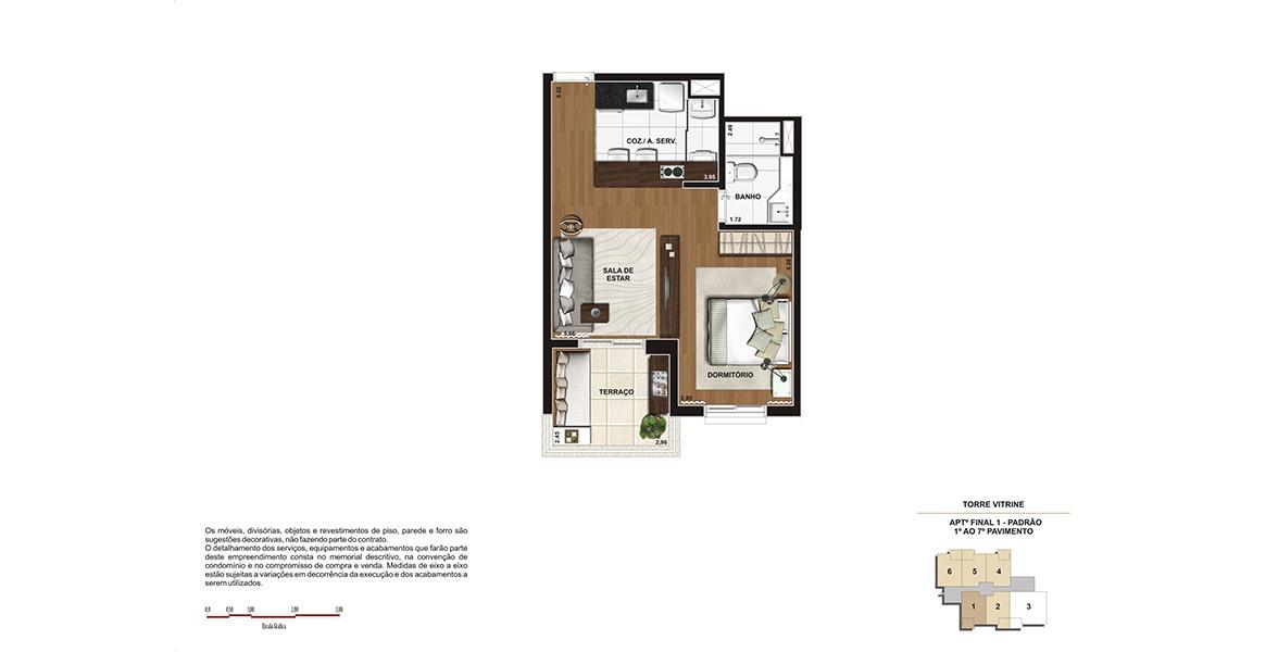 44 M² - STUDIO. Um studio confortável, com uma quebra na planta que permite uma sutil separação de ambientes, mesmo com tudo integrado.