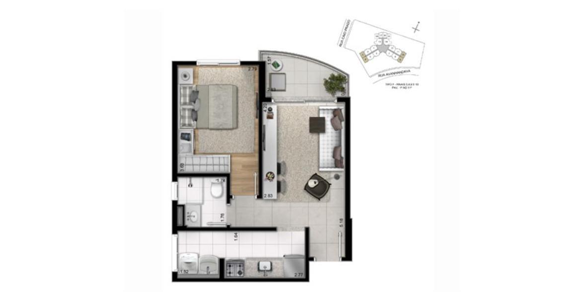 40 M² - 1 DORM. Apto com as divisões internas, mas você também pode optar por transformá-lo em studio, sem as paredes internas para ganhar espaço.