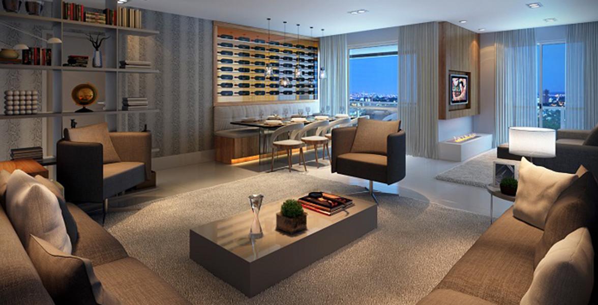 LIVING AMPLIADO do apto de 157 m², com sugestão de cozinha aberta.