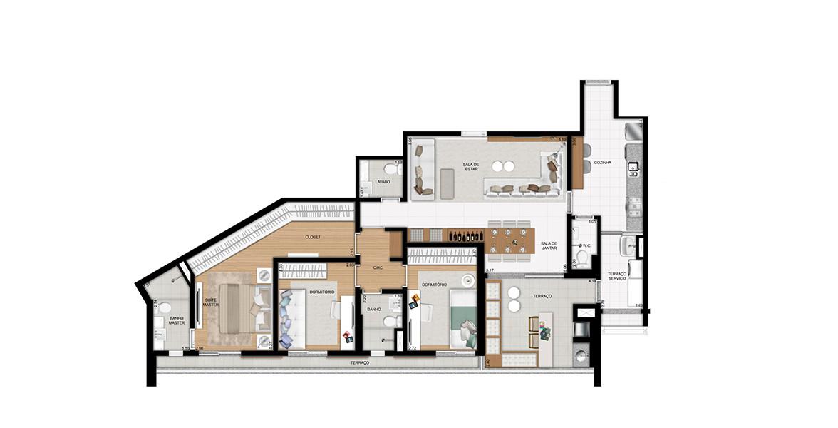 129 M² - 3 DORMS., SENDO 1 SUÍTE. Possui entrada de serviço direto na cozinha com W.C. O living com lavabo é bem confortável, integrado ao terraço gourmet, já entregue com churrasqueira. Dormitórios tem caixilhos com porta de correr.