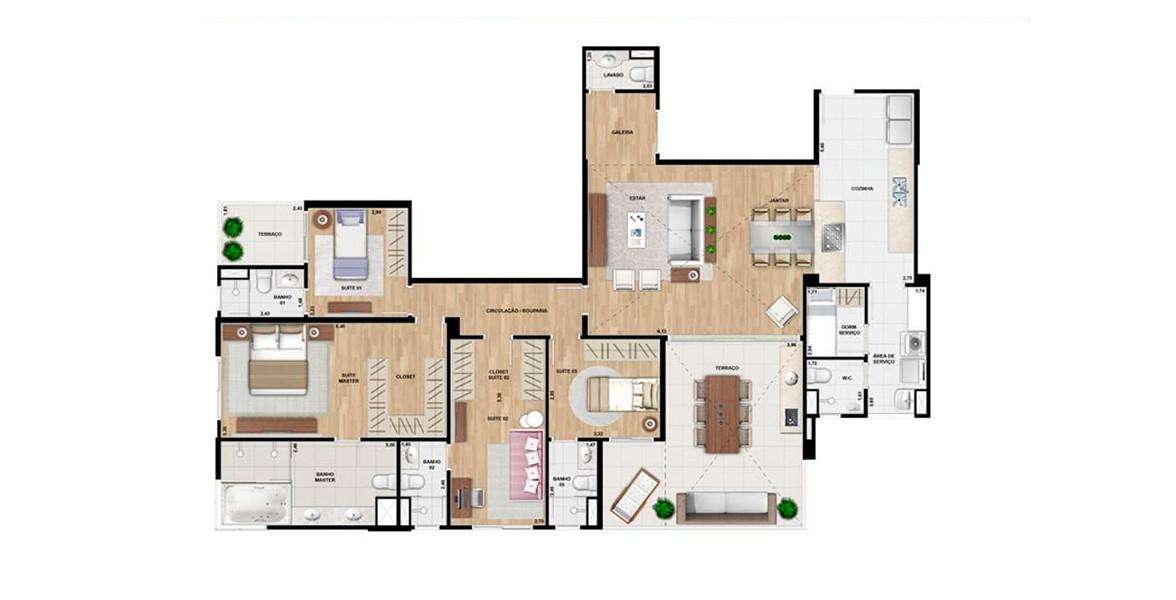 Planta do Nova York Penthouses. 185 M² - 4 SUÍTES. Penthouse com living e terraço com pé-direito duplo, 4 suítes com infra para ar-condicionado e uma ótima suíte master com closet e banheiro senhor / senhora e opção de banheira.