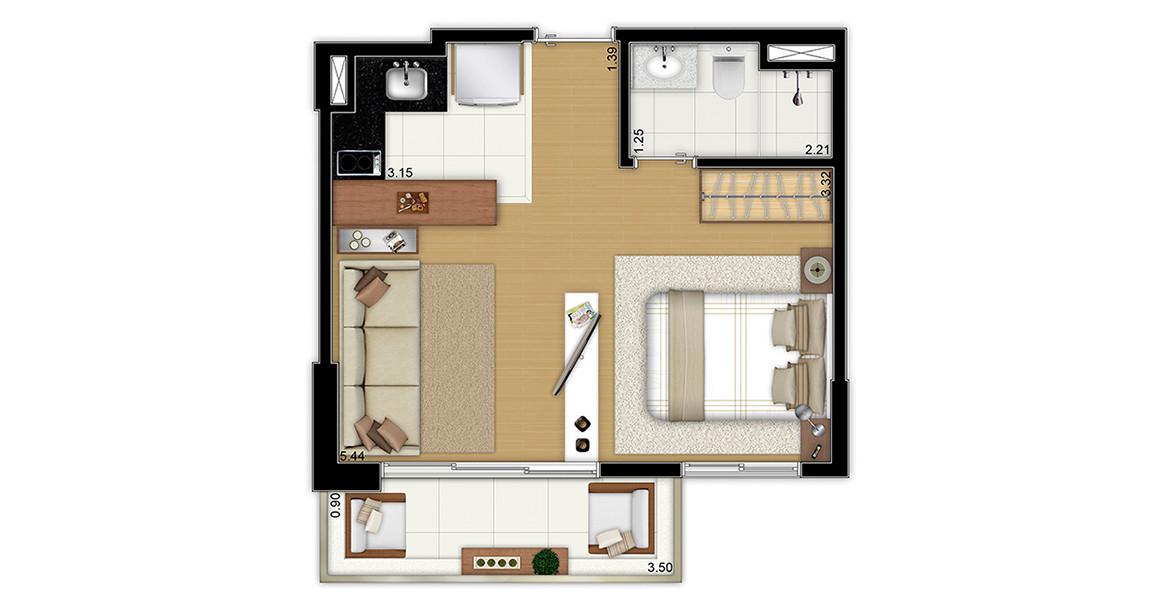 32 M² - STUDIO. Apartamento bem aberto, como um studio deve ser, mas com ambientes bem divididos visualmente.
