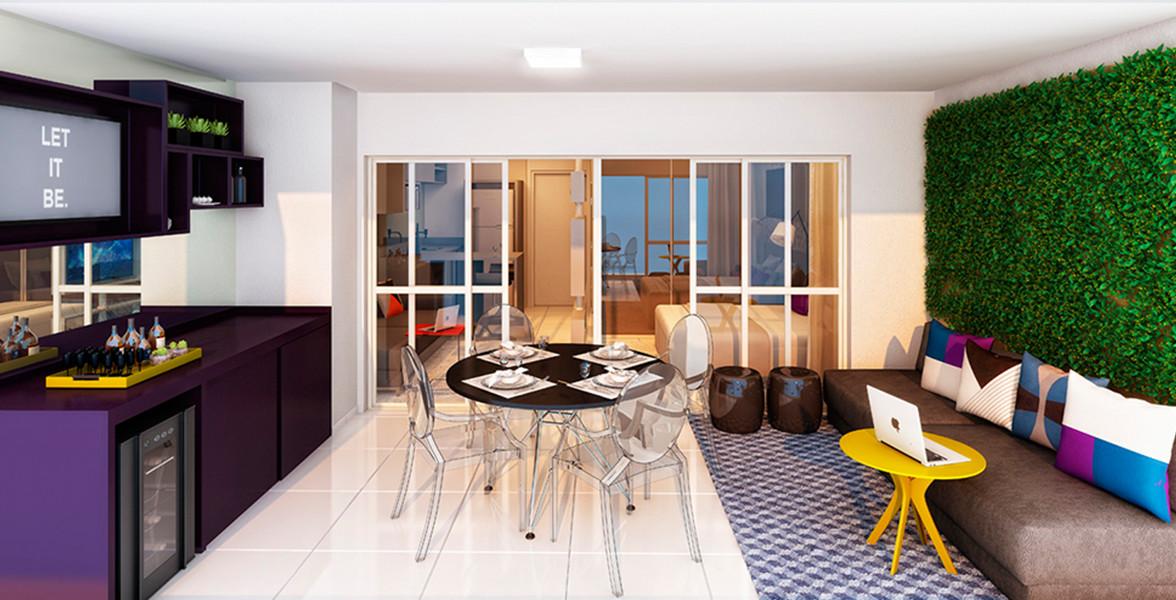 TERRAÇO do apto de 38 m² que é bem amplo. Quem disse que é necessário uma sala para receber os amigos? do ADD Vila Mariana